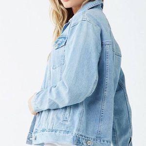 Button-Front Light Denim Jacket